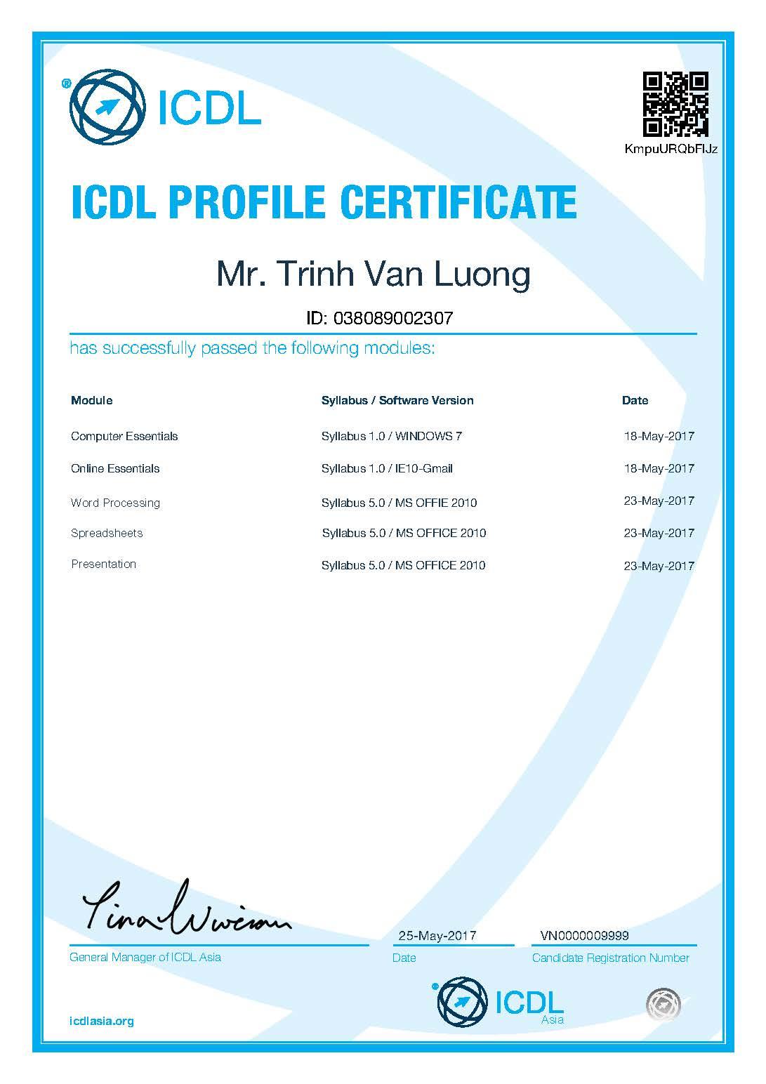Chứng chỉ Tin học quốc tế ICDL do ICDL Asia cấp cho thí sinh từ các trường Đại học.